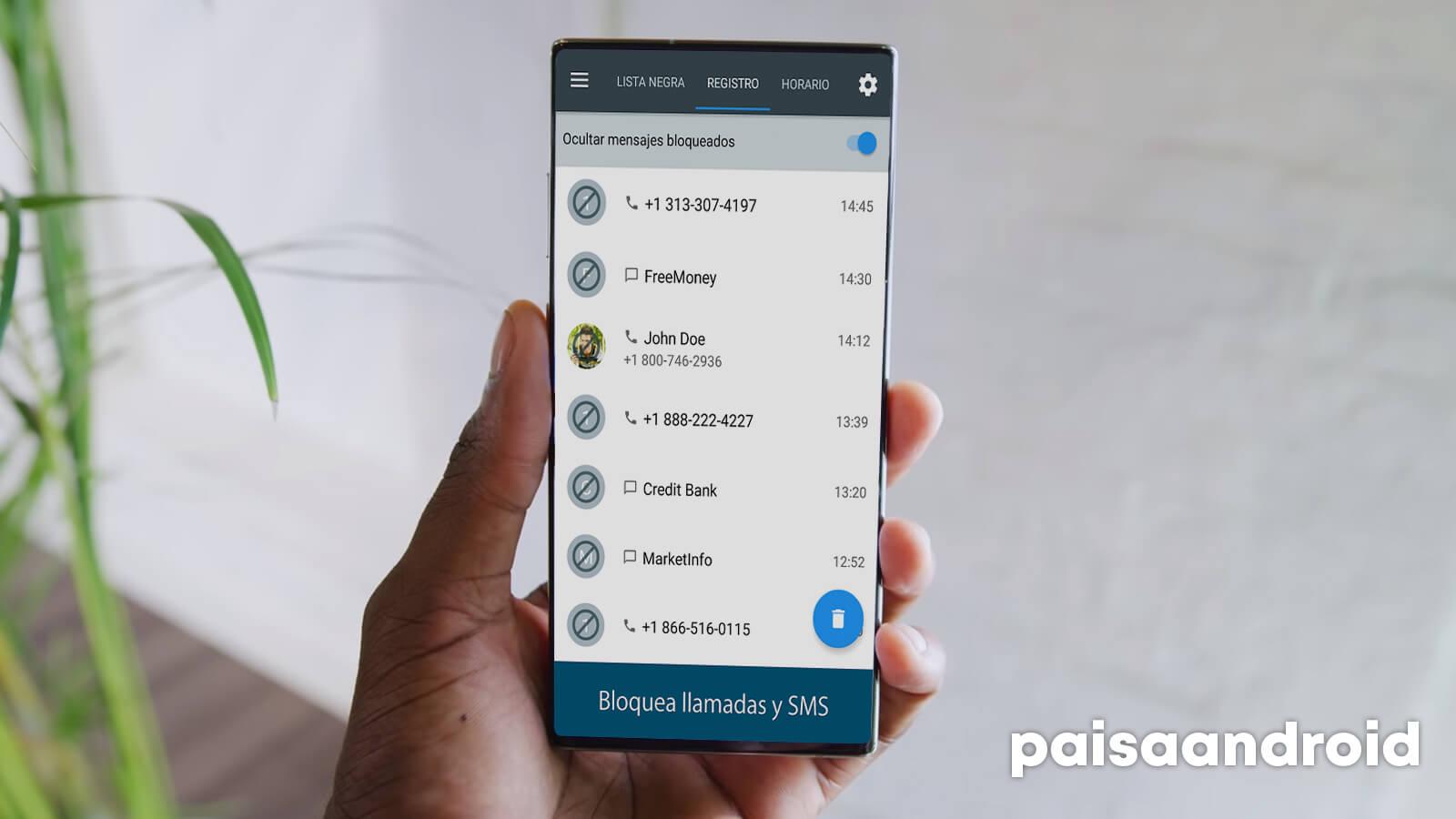 Bloqueador de llamadas y SMS para Android