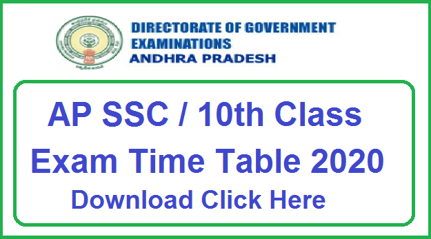 Manabadi AP SSC Time Table 2020 Download