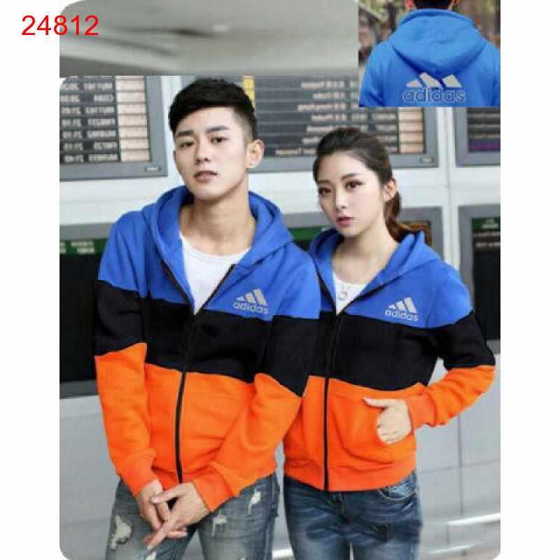 Jual Jacket Couple Jacket Adidas Block Biru Hitam - 24812