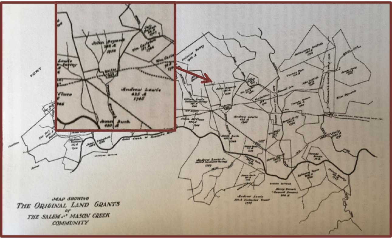 map of original land grants in southwest virginia courtesy of kegley s virginia frontier 1740 1783 page 562
