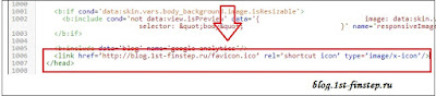 Вставить адрес иконки favicon в код сайта