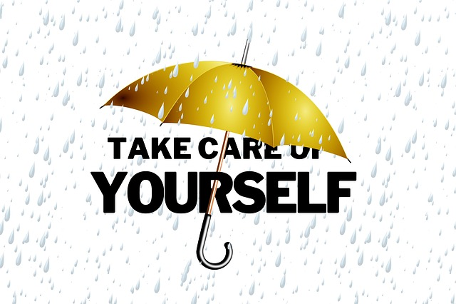 umbrella protecting the words 'take care of yourself' from the rain