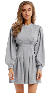 5 Chic and Classy Clothes for Fall 2020 - Soft Gray Crew Neck Mini Dress High Waist Weekend Fashion