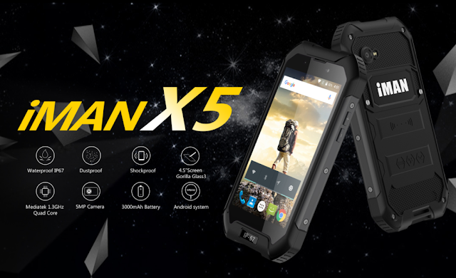 iMan X5: Affordable IP 67 cerified rugged smartphone that sports 5 points multitouch support,one click SOS button and MT6580 SoC