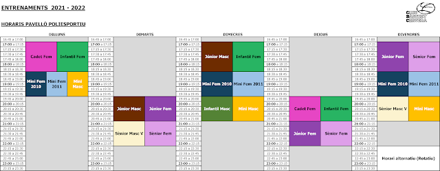 2021-22 Horaris d'entrenament