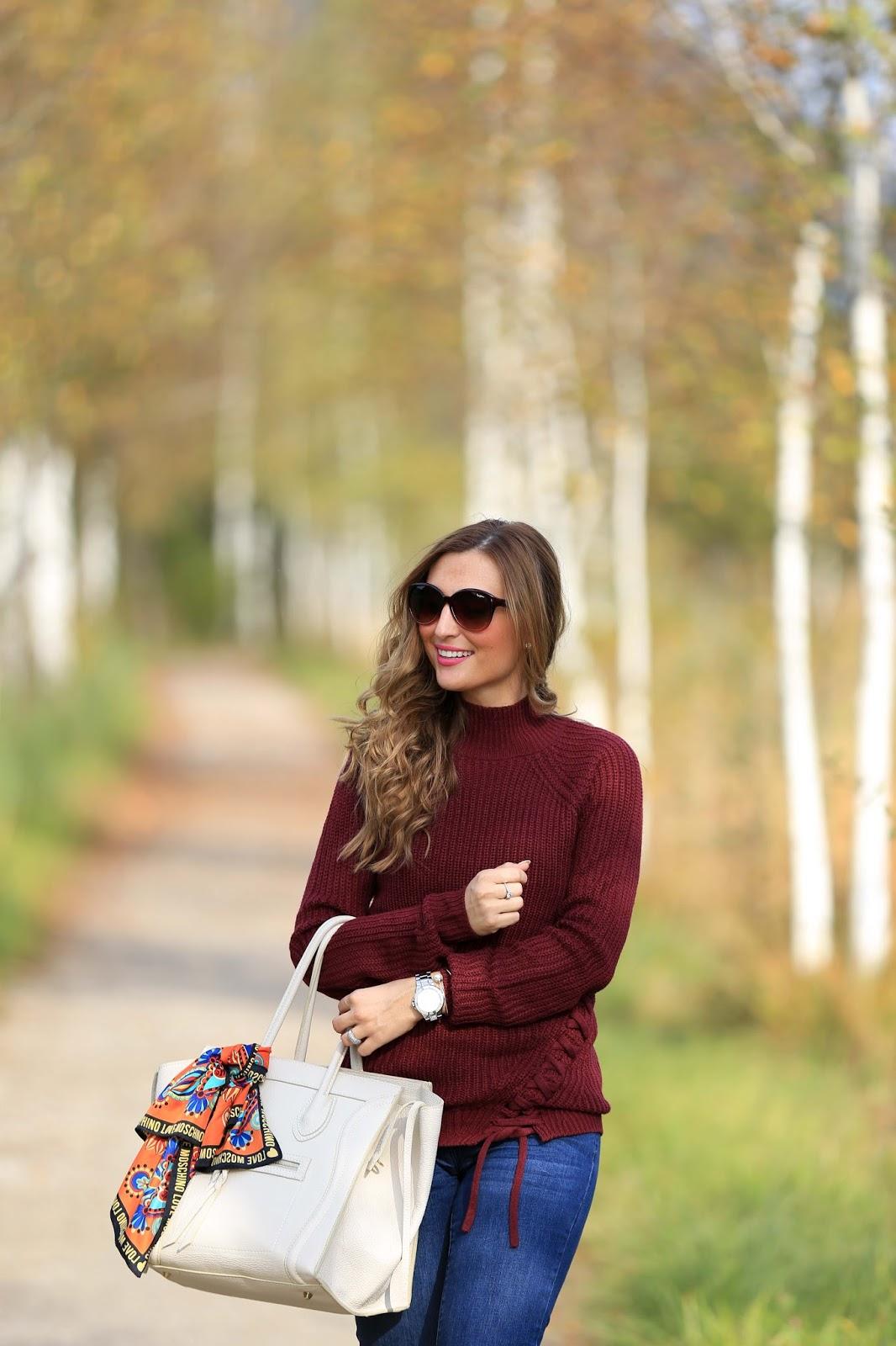 Herbstlook - Blogger Herbstlook - Musthaves im Herbst - Bordeaux - Beige- Pulloiver in Bordeaux - Bordeaux Bloggerpulli - Was ziehe ich im Herbst an- Fashionstylebyjohanna- Fashionblogger aus Deutschland - Blogger aus Frankfur