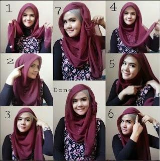 tutorial jilbab segi empat anggun dan modis