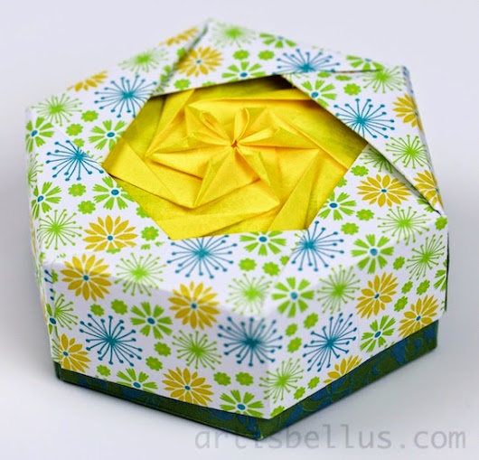 Origami Boxes: Hexagonal Flower Box | Origami - Artis Bellus