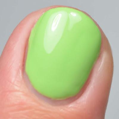 green nail polish close up