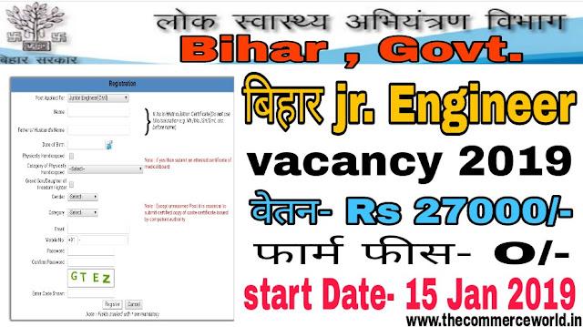 Bihar PHED Junior Engineer Recruitment online form 2019