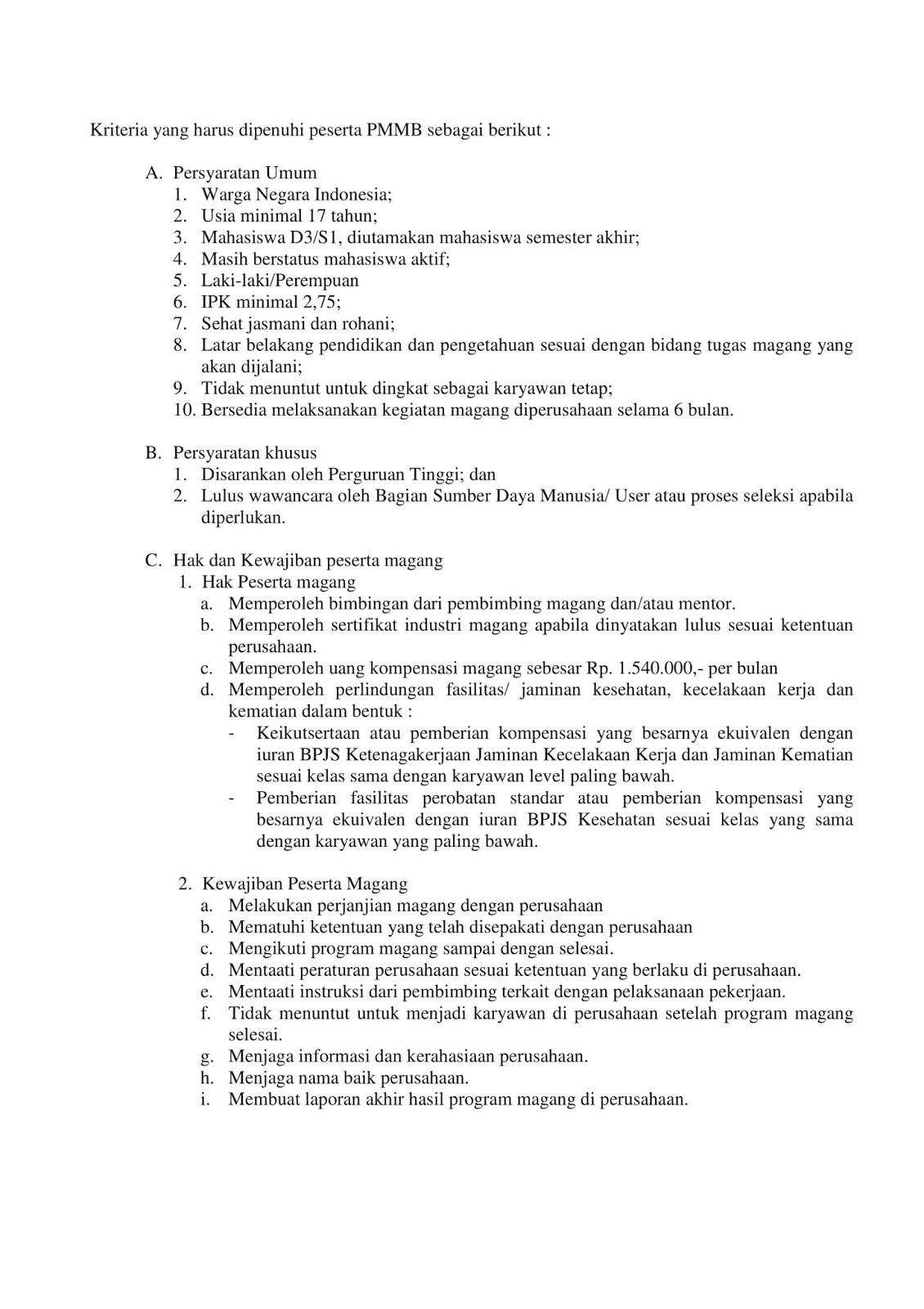 Penerimaan Progam Magang PT Perkebunan Nusantara XII Maret 2019