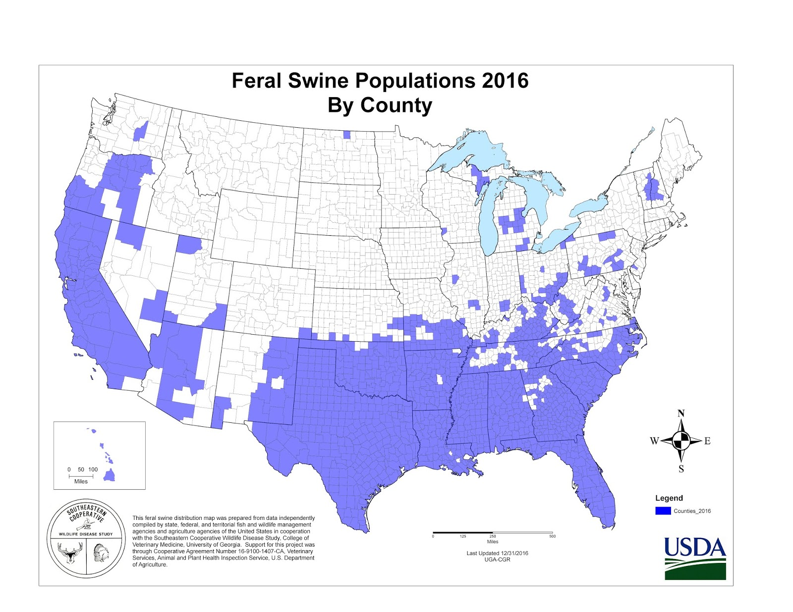 nmfss data showing 2016 feral swine populations by county image credit usda aphis