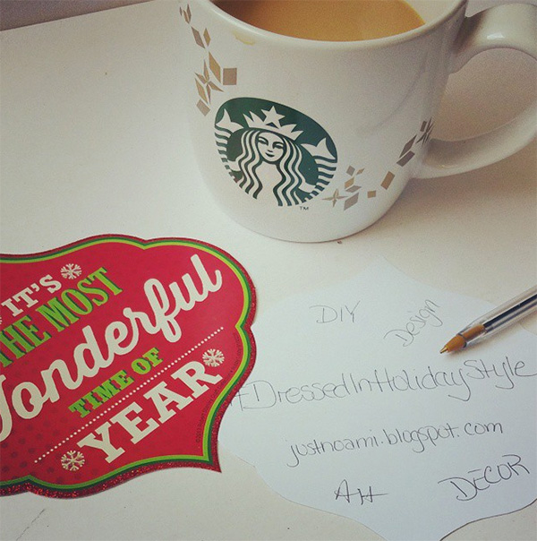 Starbucks holiday mug, most wonderful time of the year label, dressed in holiday style to do list
