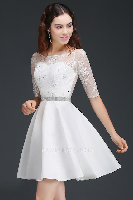 A Line Jewel White Short Sleeve Satin Quince Dama Dresses With Lace