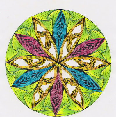zentangle zendala mandala diva dance paradox color shading