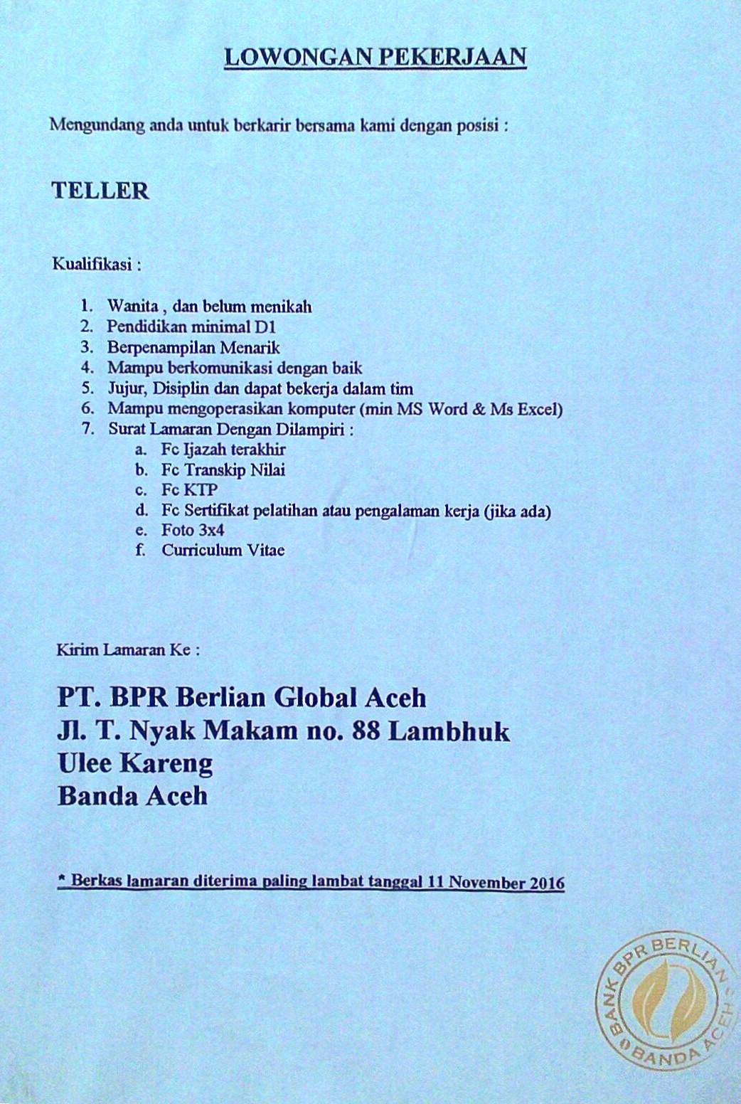 PT.BPR BERLIAN GLOBAL ACEH