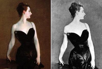 Pentimento de Madame X, del pintor John Singer Sargent, comparando la versión final con la del tirante caído