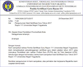 Pengumuman Hasil Sertifikasi PLPG Rayon 111 Universitas Negeri Yogyakarta (UNY) Tahun 2017