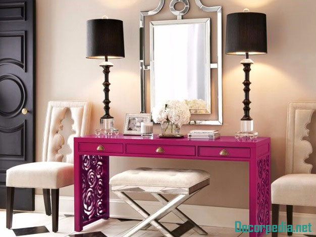 Modern dressing table design ideas with mirror, pink dressing table