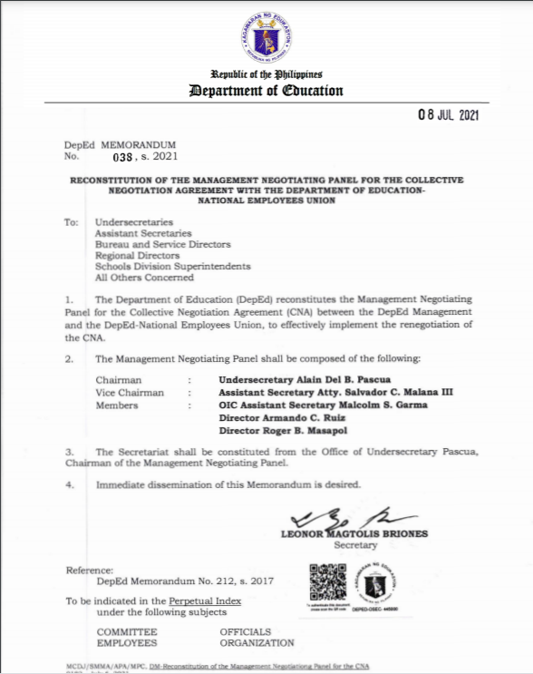 New DepEd Memorandum No.038| RECONSTITUTION OF THE MANAGEMENT NEGOTIATING PANEL FOR THE COLLECTIVE NEGOTIATION AGREEMENT WITH THE DEPARTMENT OF EDUCATION NATIONAL EMPLOYEES UNION