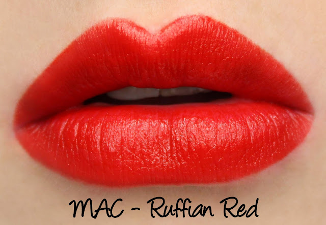 MAC Ruffian Red Lipstick Swatches & Review