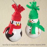 Lightbulb penguin and snowman