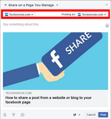 share on a facebook page you manage