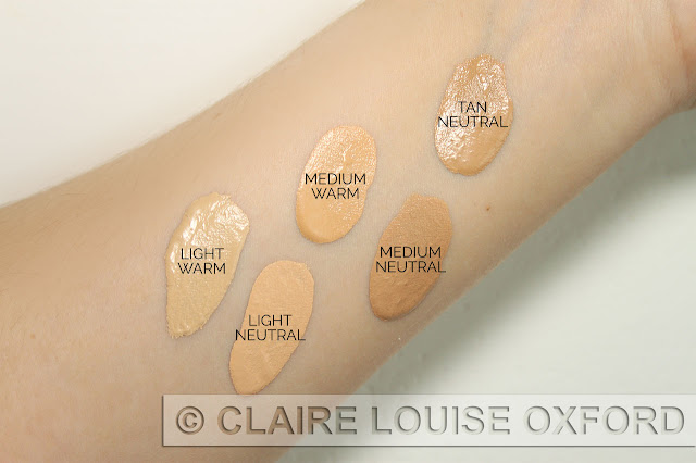 Creamy Comfort Foundation - swatches: Light Warm, Light Neutral, Medium Warm, Medium Neutral, Tan Neutral