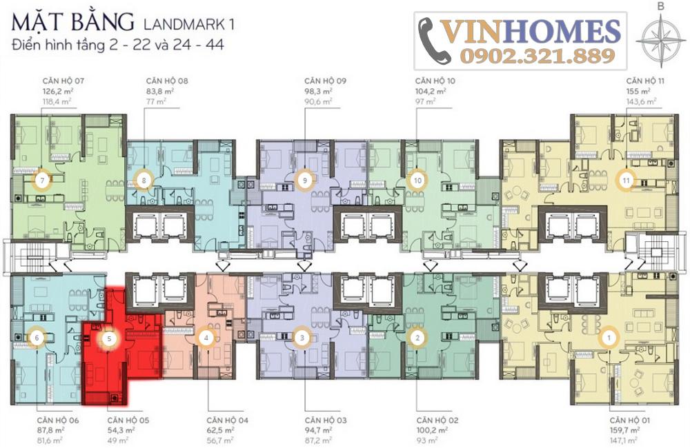 Bán căn hộ Vinhomes Bình Thạnh khu Landmark - Layout tòa Landmark 1 căn 5