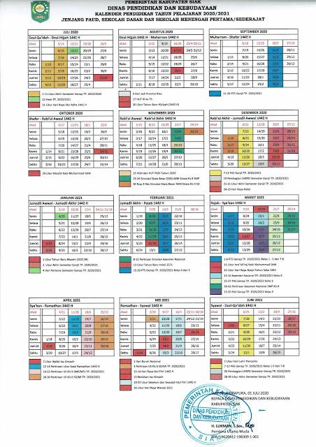 kalender pendidikan kabupaten siak 2020