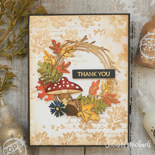 Thank You Card by Juliana Michaels featuring Scrapbook.com Oak Leaves Stencil and Pops Of Color Gold Glitter