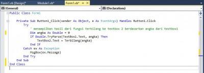 Contoh penempatan kode, event click vb.net