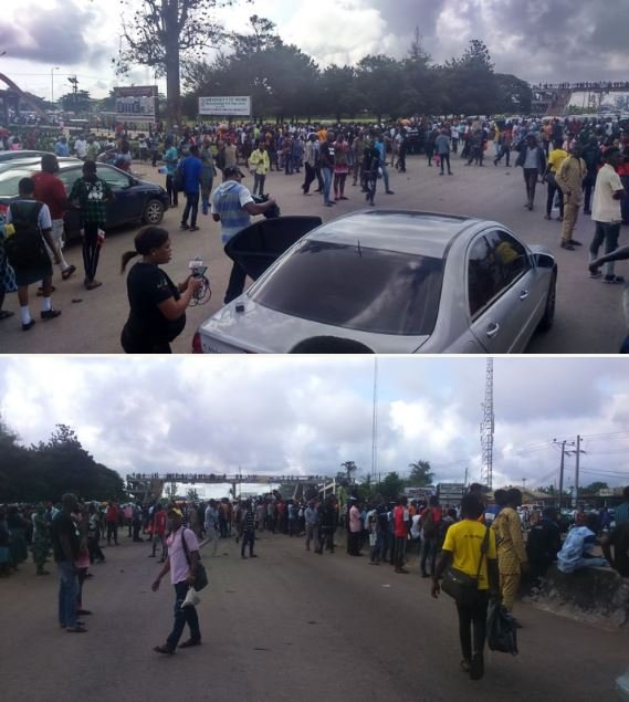 UNIBEN Students Protest Along Benin-Lagos Expressway Over Poor Management (See Photos)