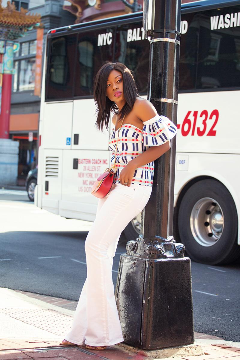 flare jeans, off the shoulder top, rename tops, chloe bag, jadore-fashion.com