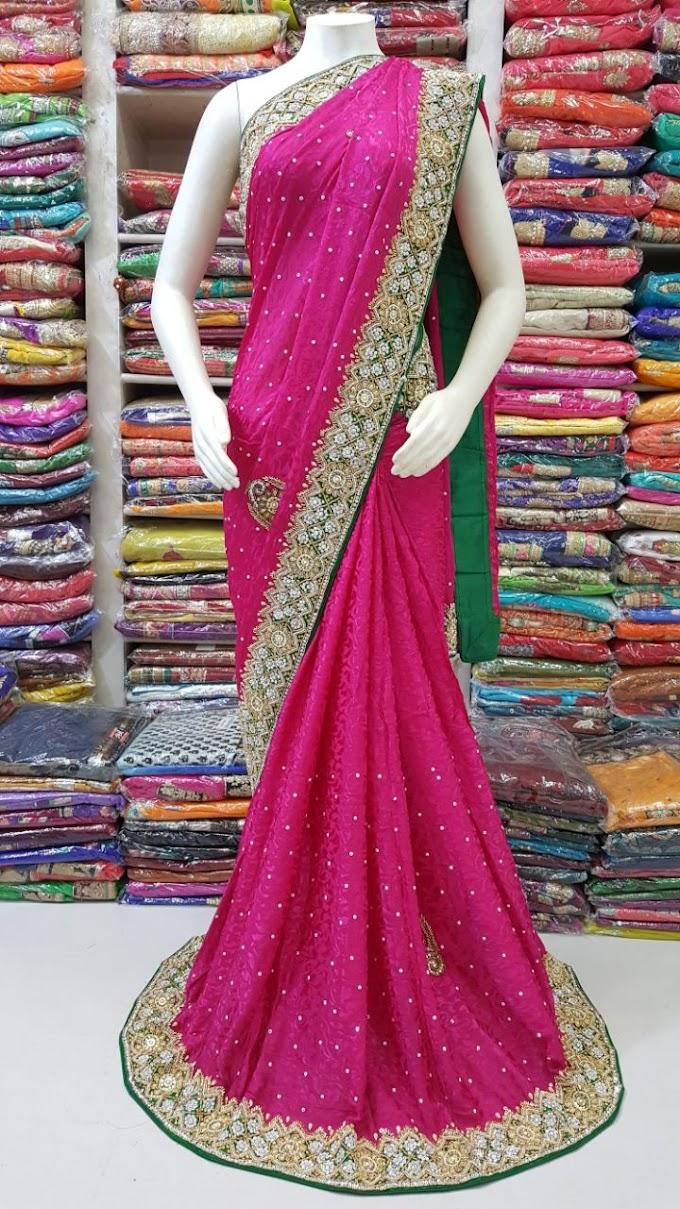 wedding pink rani hand work fancy saree by sharmili saree all over hand work border