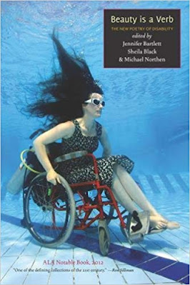 Cover of the anthology Beauty Is a Verb: the New Poetry of Disability. Photo of a woman in a wheelchair sunk to the bottom of a pool, blue water all around her, she is wearing fabulous goggles, and her long dark hairing is swirling above her.