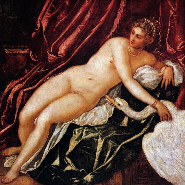 Tintoretto pintó su versión de Leda y el Cisne dándole un aire de sensualidad