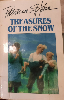 This Treasures of the Snow cover shows a picture from the movie that was made from this book, on a white background