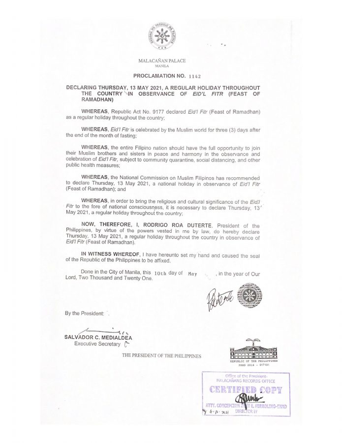 Duterte declares May 13, 2021 as regular holiday for Eid'l Fitr