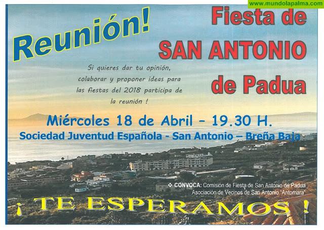 FIESTA DE SAN ANTONIO: convocatoria de reunión