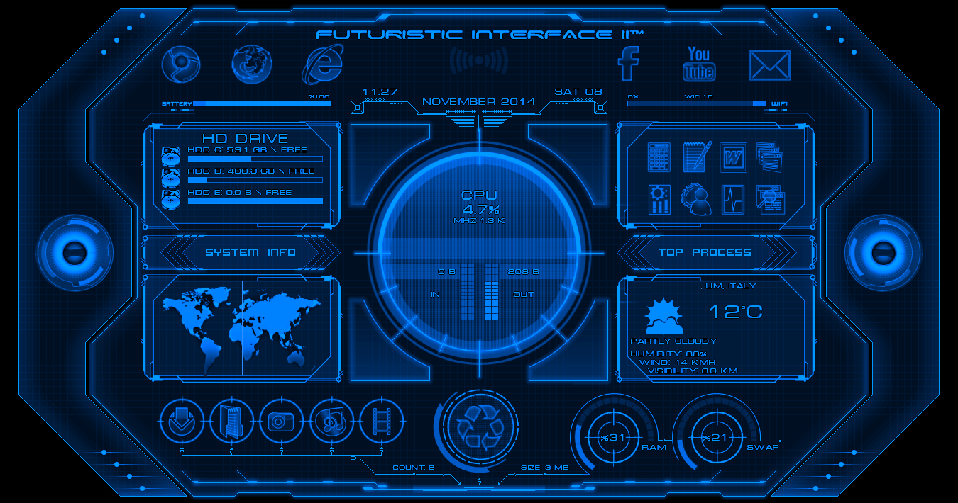 Alienbyte Futuristic Interface II Widget For Rainmeter ...