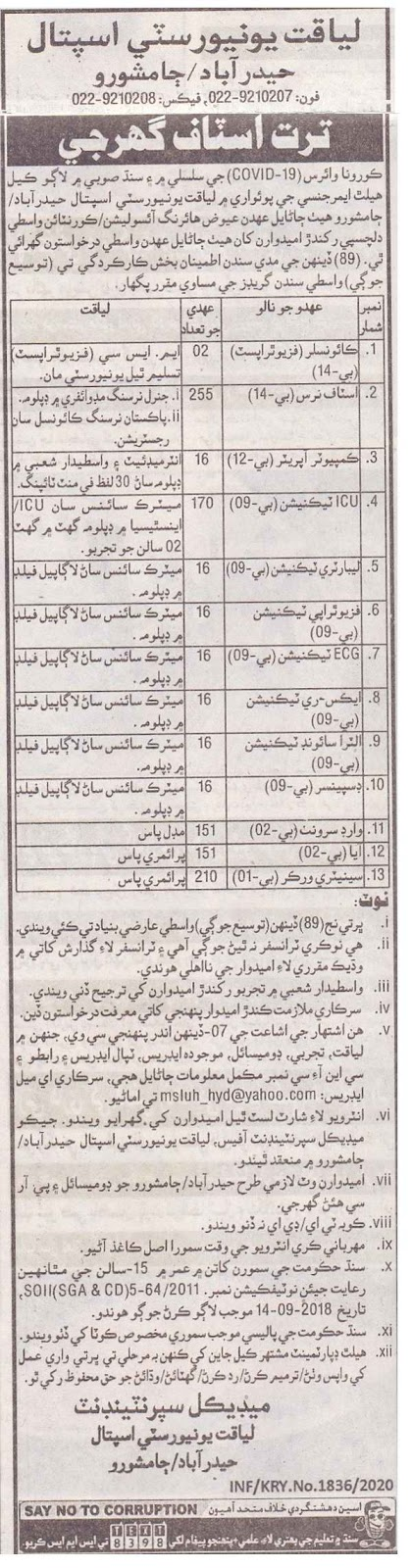 1051 Seats in Liaquat University Hospital LUMHS Hyderabad Jobs 2020 for Computer Operator, Laboratory Technician & more