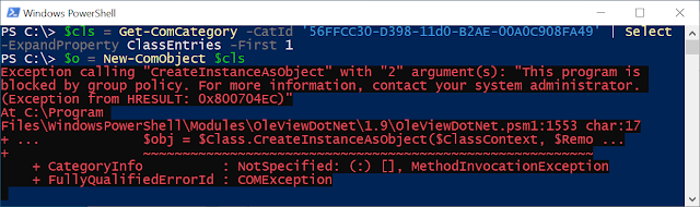 PowerShell error when creating MSOAV COM object. Fails with AppLocker policy block error.