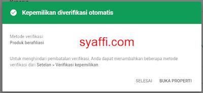 6. Kepemilikan situs diverifikasi otomatis oleh Google Search Console