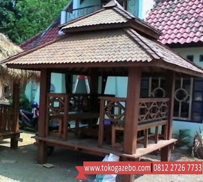 Gazebo Glugu Minimalis Atap Tumpuk