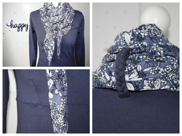 Collage - Shirt Wintershirt mit Tuch Schnittmuster für Frauen von AnniNanni selbst genähtes Damen Oberteil Longsleeve aus Jersey mit Viskose Schal Blau Blumen