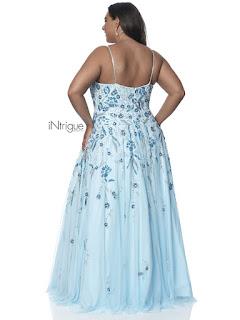 v-neck A-line intrigue by blush plus size prom dress powder rose color back side