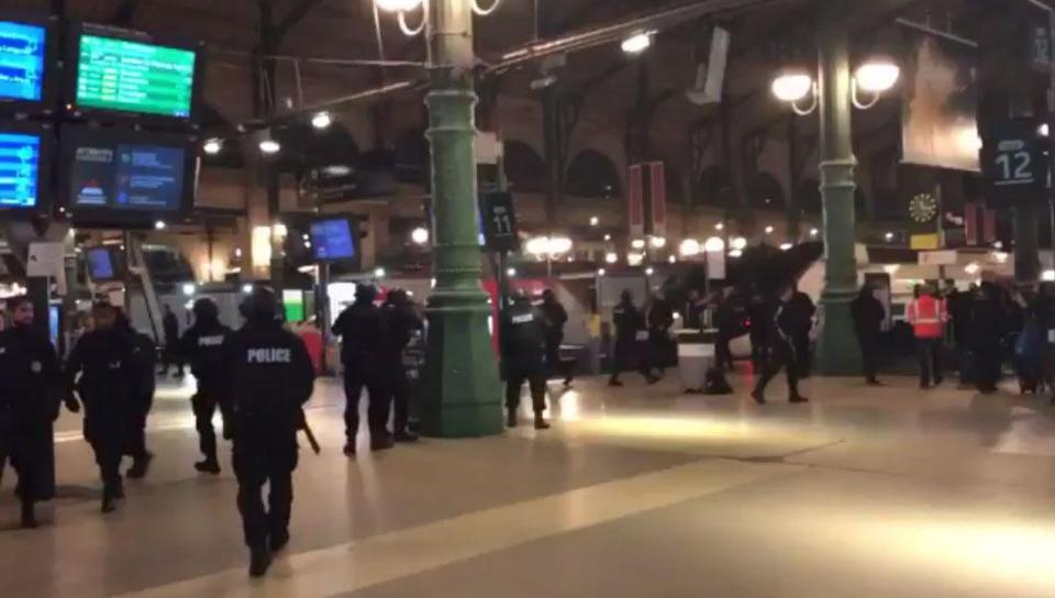 PARIS ON LOCKDOWN: Gare Du Nord evacuated as heavily-armed cops storm Paris train station in hunt for 'three dangerous men'