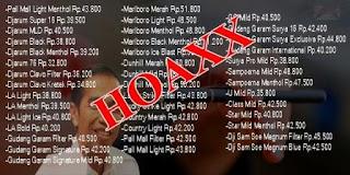 Berita Kenaikan Harga dan List Harga Rokok Naik Itu HOAX