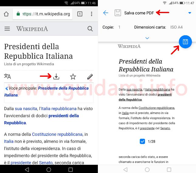 Chrome mobile come salvare articolo Wikipedia in PDF